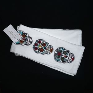 2 SUGAR SKULL Dish Towels oversized thick NWT